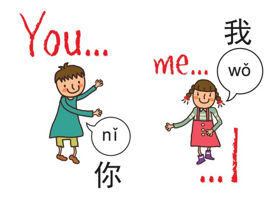 you and me learning with our Chinese language teacher